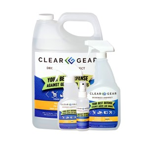 Clear Gear Family Pack 4 oz 1 Gal Bottle Case | Sports Odor Eliminator Spray