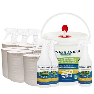 Clear Gear Wipes, Refills and 32oz bottle case