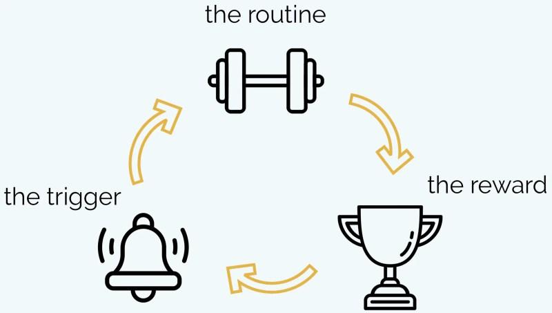 scientific habit cycle formula trigger leads to routine leads to reward leads back to trigger