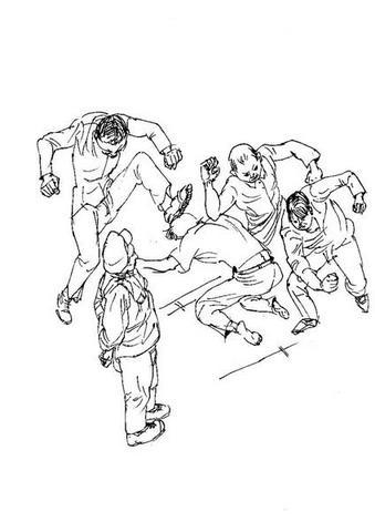 Drawing: Wang Jinguo Been Beaten By Crinimal Inmates