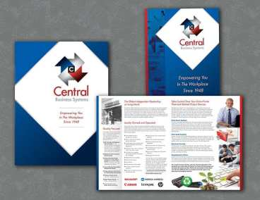Capabilities Brochure and pocket folder for office systems dealer