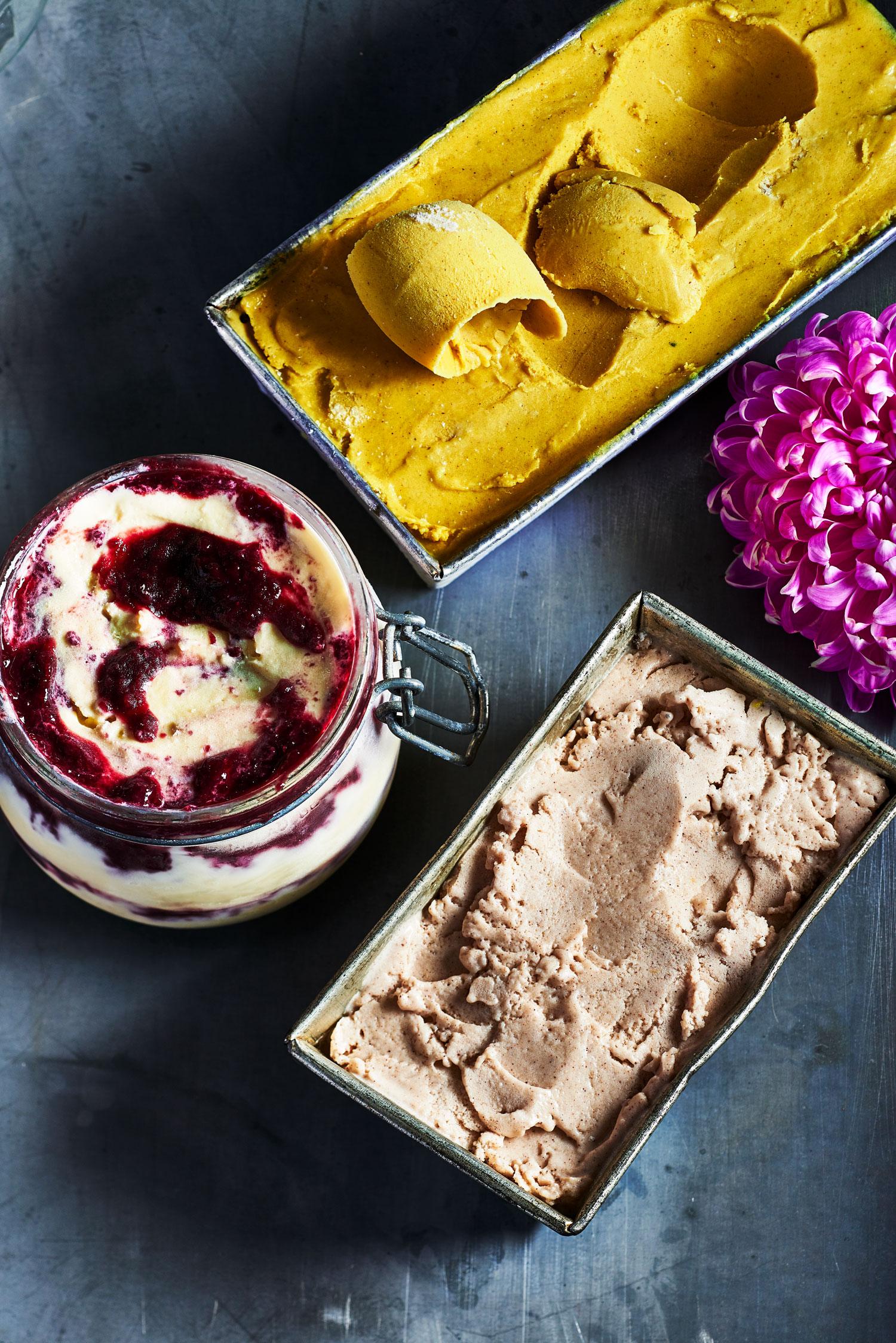 containers of vegan ice cream
