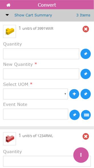 Mobile convert quantity screen
