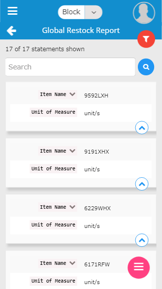Inventory management-mobile global restock report screen