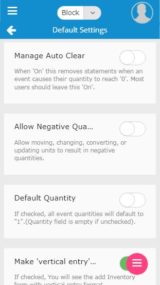 Mobile default settings screen