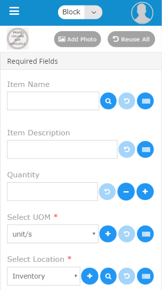 Mobile add item screen