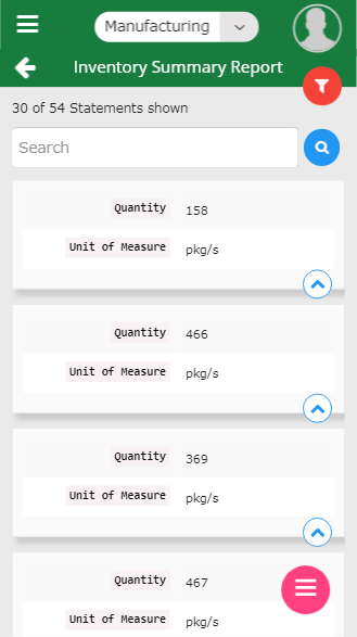 Inventory management-mobile inventory summary report screen