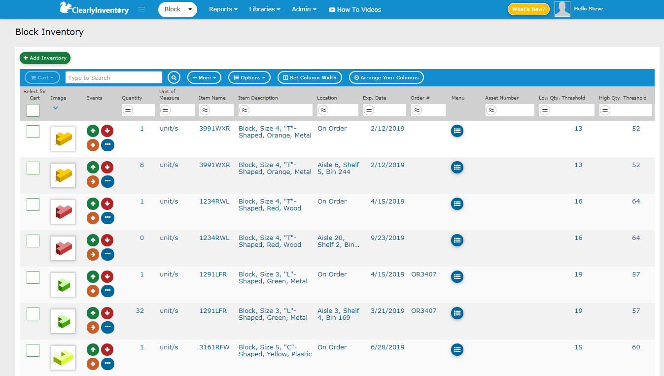 Block inventory screen