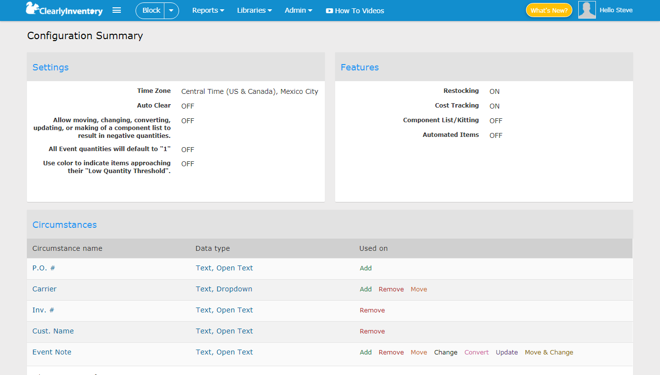 Configuration summary screen