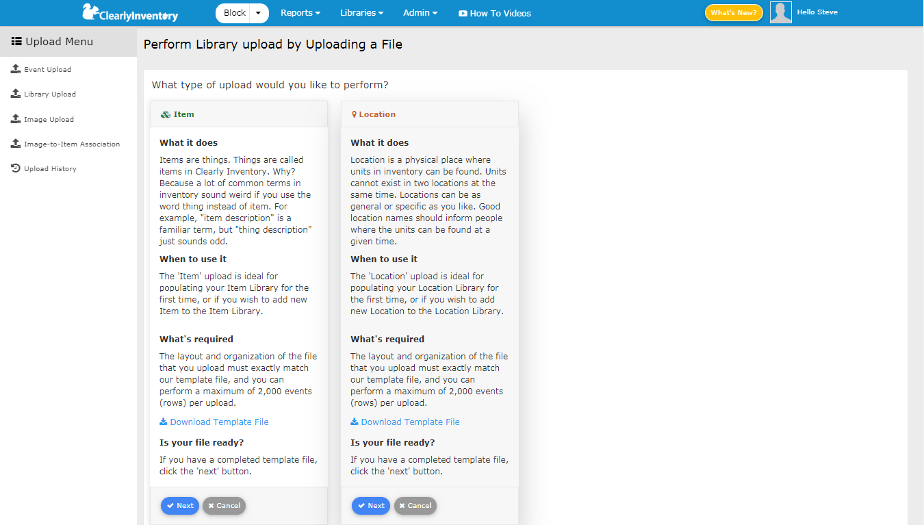 Perform library upload screen