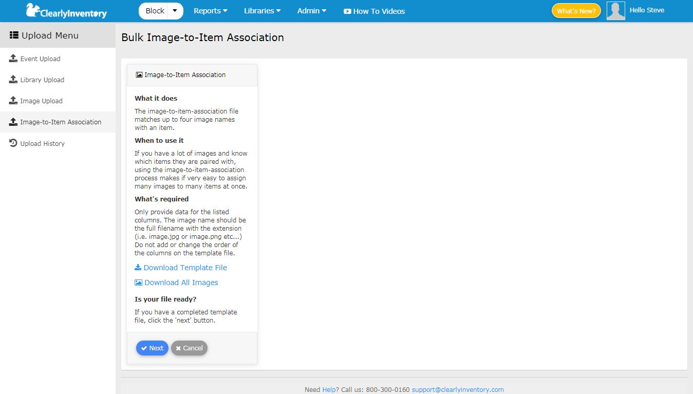 Bulk image to item association screen