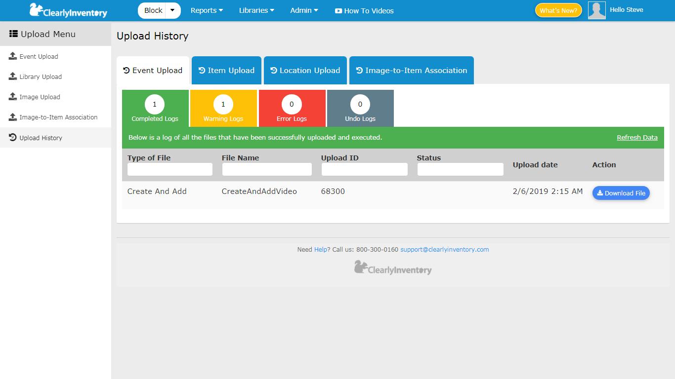 Upload history screen