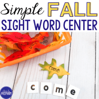 Simple Fall Sight Words Center
