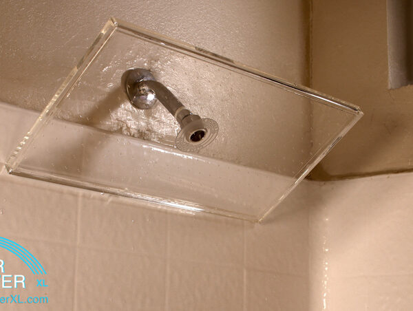 large clear showerhead with white tile
