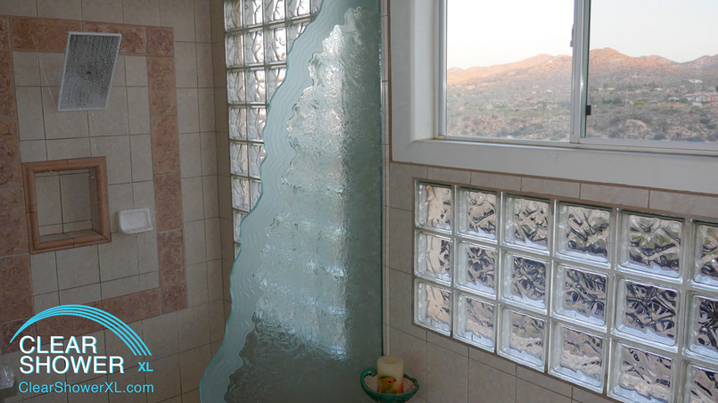 Mirror showerhead in beautiful bathroom