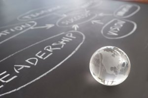 The word leadership written in chalk next to a glass globe