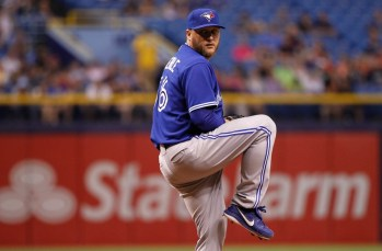 Apr 2, 2014; St. Petersburg, FL, USA; Toronto Blue Jays starting pitcher Mark Buehrle (56) against the Tampa Bay Rays at Tropicana Field. Toronto Blue Jays defeated the Tampa Bay Rays 3-0. Mandatory Credit: Kim Klement-USA TODAY Sports