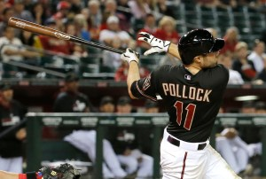 IFLE - In this April 26, 2014, file photo, Arizona Diamondbacks' A.J. Pollock flies out against the Philadelphia Phillies during the eighth inning of a baseball game  in Phoenix. Pollock was having a breakout season when he went down with an injury  in 2014. He is looking for the same kind of start as the Arizona Diamondbacks' center fielder this year. (AP Photo/Matt York)
