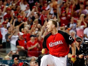 CINCINNATI, OH - JULY 13:  National League All-Star Todd Frazier #21 of the Cincinnati Reds reacts during the Gillette Home Run Derby presented by Head & Shoulders at the Great American Ball Park on July 13, 2015 in Cincinnati, Ohio.  (Photo by Rob Carr/Getty Images)