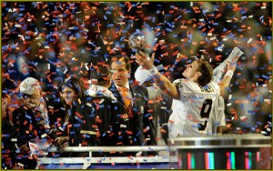 New Orleans Saints quarterback Drew Brees (9) celebrates following the Saints win over the Indianapolis Colts in the NFL Super Bowl XLIV football game in Miami, Sunday, Feb. 7, 2010. The Saints won 31-17. (AP Photo/Paul Abell)