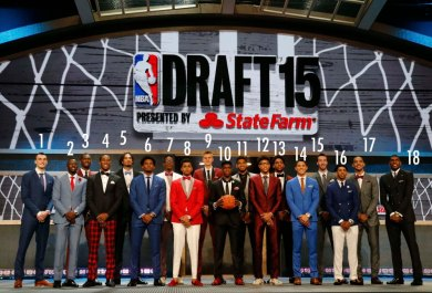 June 25, 2015; New York, NY, USA; NBA draft prospects pose for a group photo before the 2015 NBA Draft at the Barclays Center. Mandatory Credit: William Perlman/NJ Advance Media for NJ.com via USA TODAY Sports