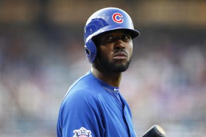 Chicago Cubs' Dexter Fowler prepares for an at bat in the first inning of a baseball game against the Atlanta Braves, Friday, July 17, 2015, in Atlanta. (AP Photo/Brett Davis)