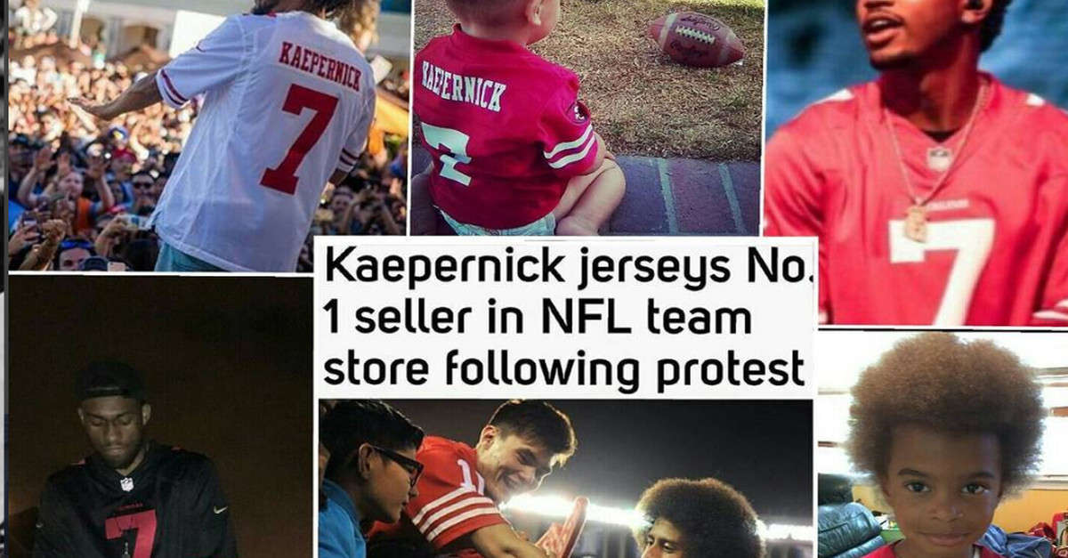faa79daec Just look around for Kaepernick's jersey, because they are flying off the  shelves. kapsjersey
