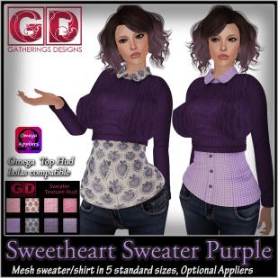 Sweetheart Sweater Purple with Hud - GB JAn