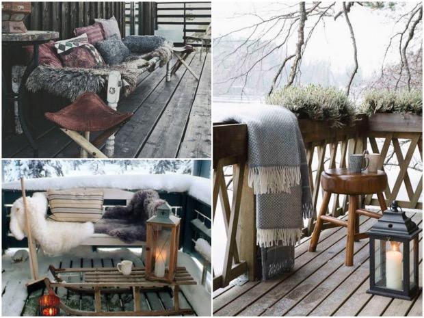 decoration exterieur hiver noel fausse fourrure terrasse
