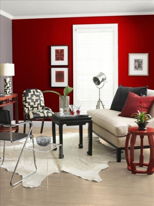 salon mur rouge peinture.