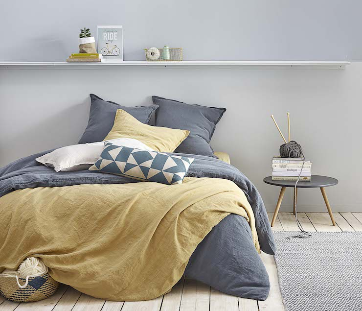 Charmant Chambre Jaune Moutarde Cosy Gris Clair