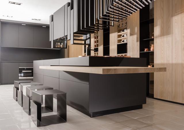 Attrayant Cuisine Noire Mat Et Bois Moderne