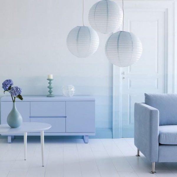 mur tie and dy dégradée de bleu camaïeux peinture salon