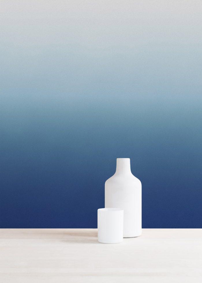 papier peint tie and dye bleu blanc ocean