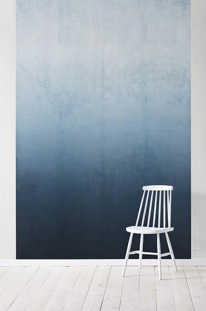 papier peint tie and dye degradé de bleus camaieu