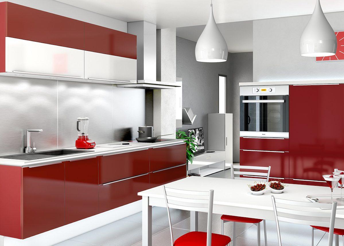 Deco Cuisine Contemporaine Blanche cuisine blanche mur rouge | peinture murale cuisine gris