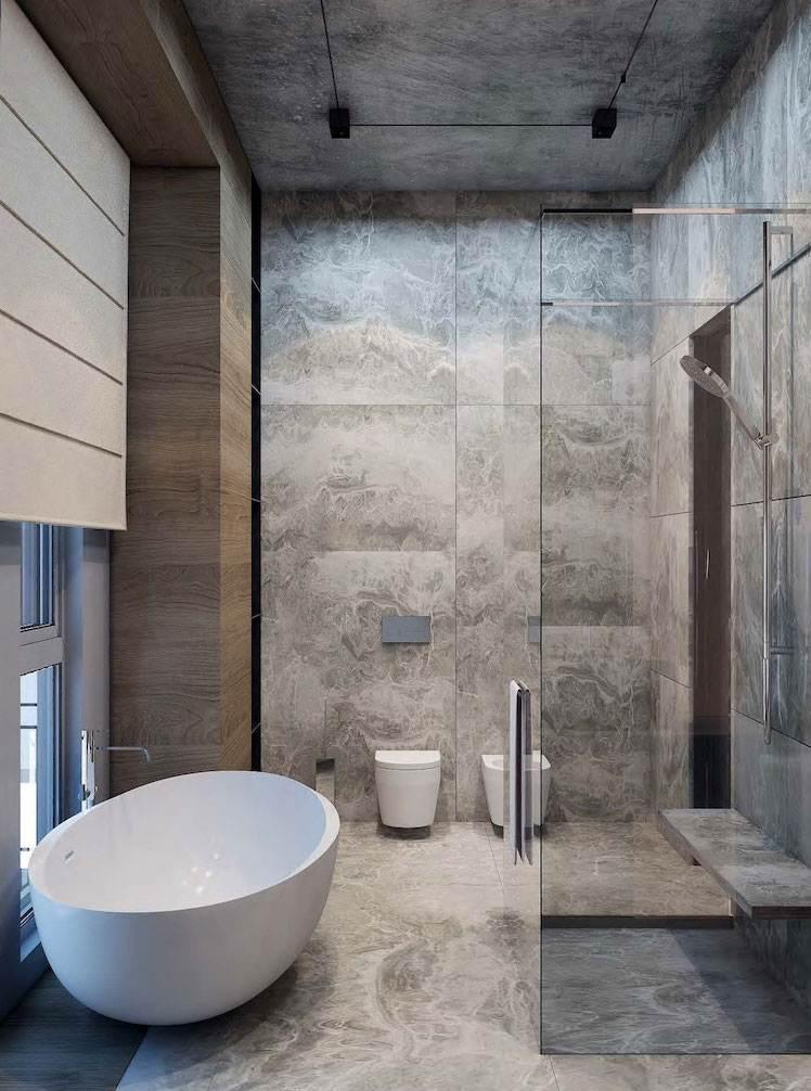 petite salle de bain style masculin bois gris crédence imitation béton douche italienne