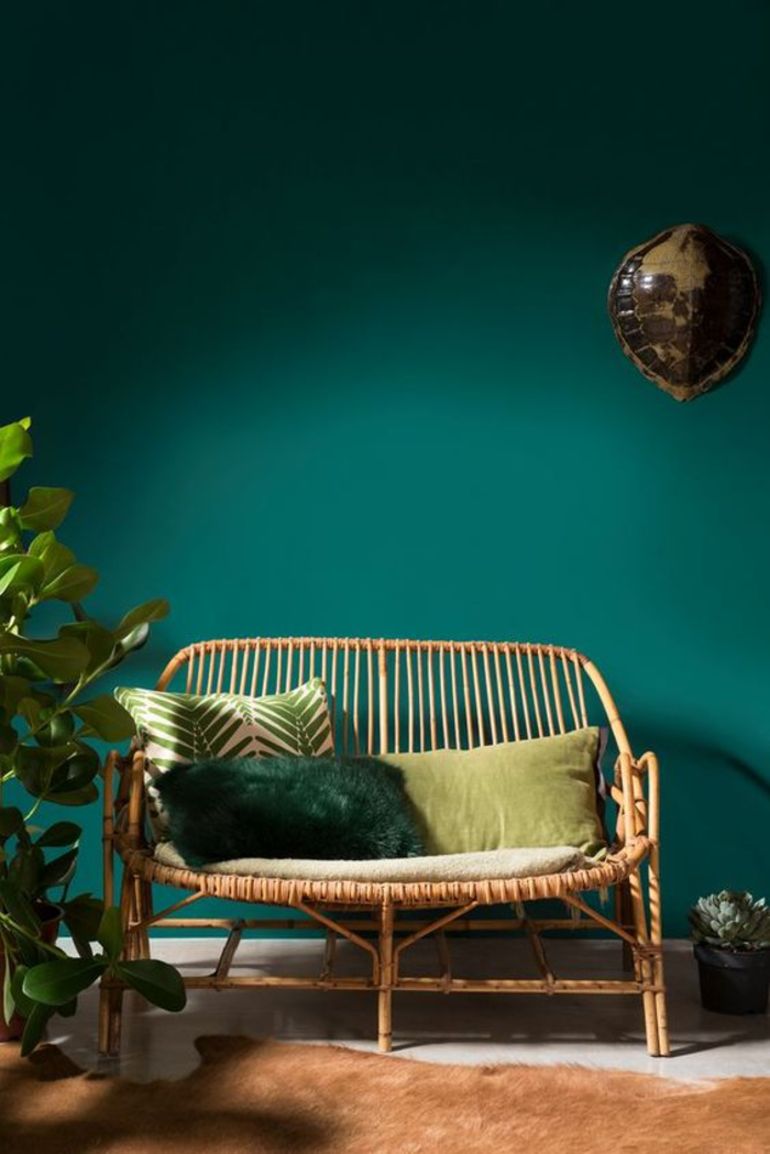 Genial Tendance Deco Couleur Vert Canard Canape Rotin Blog Clem Around The Corner