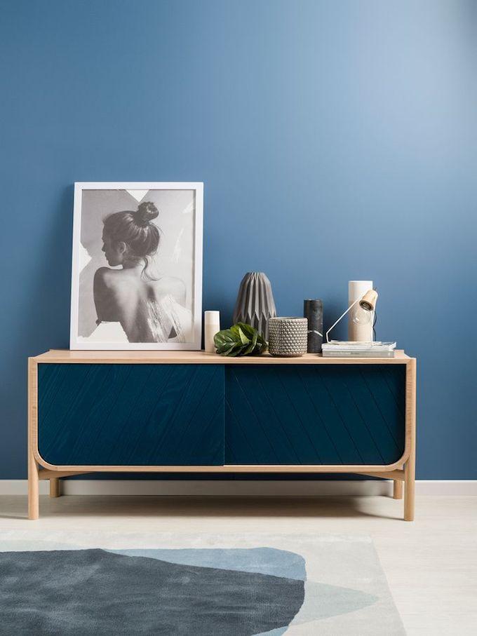 buffet bleu marine chene mur bleu salon homebox avis clemaroundthecorner