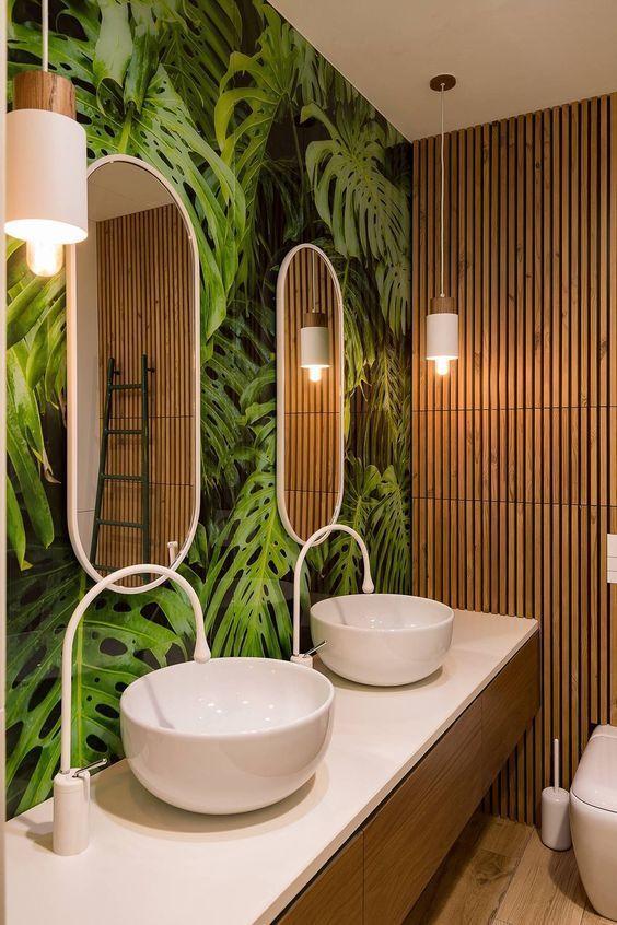 Beau Salle De Bain Theme Nature Bambou Carrelage Feuille Robinet Goutte Design    Blog Déco   Clem