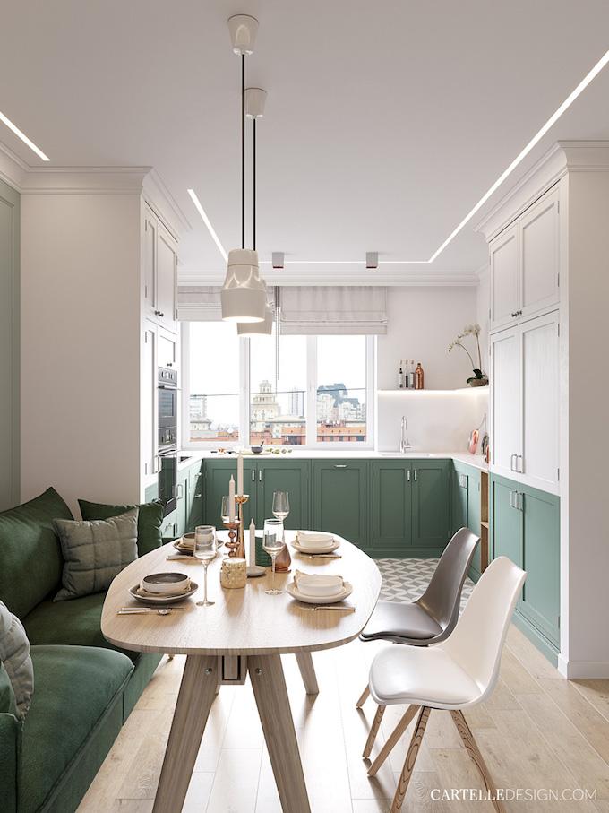 cuisine peinture bicolore soubassement vert blanc 3 pièces de Saint Pétersbourg - blog déco - Clem Around The Corner
