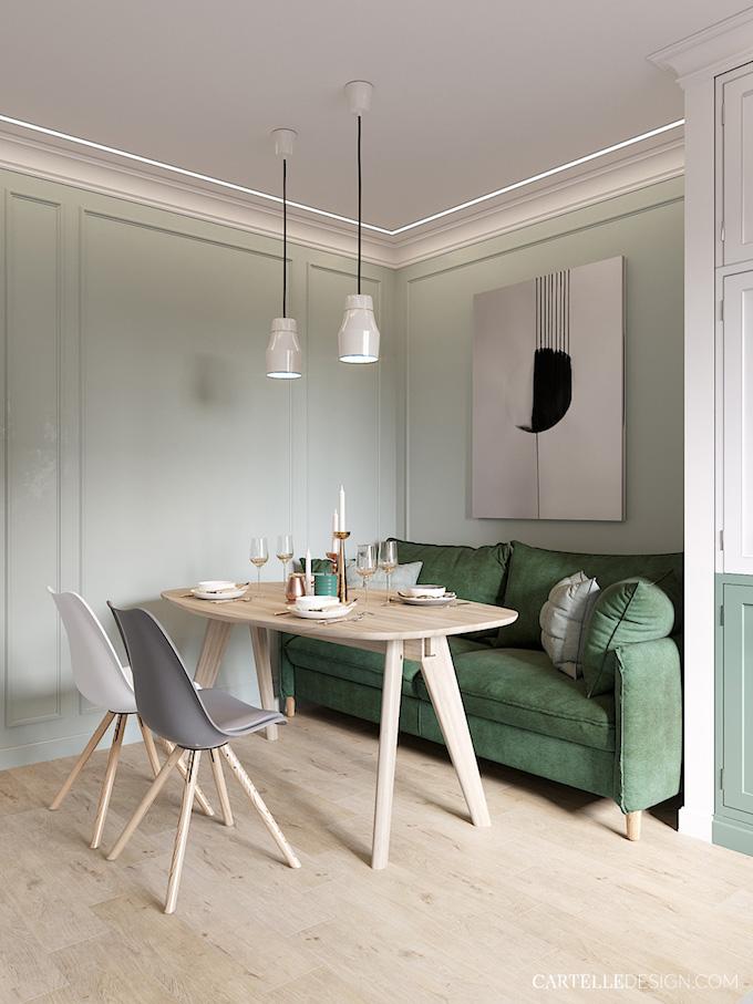 salle à manger canapé autour de la table 3 pièces de Saint Pétersbourg - blog déco - Clem Around The Corner