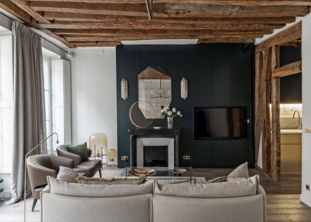 salon design appartement 60m2 poutre apparente - blog déco - clem around the corner