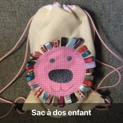sac à dos enfant petite fille tête de lion rose à coudre soi-même patron gratuit