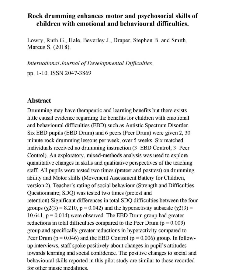 Rock drumming enhances motor and psychosocial skills of children with emotional and behavioural difficultiesweb