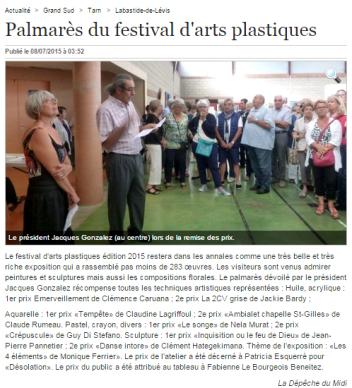 Clémence CARUANA - 1er Prix peinture Festival d'arts plastiques de Labastide-de-Levis, Juin 2015