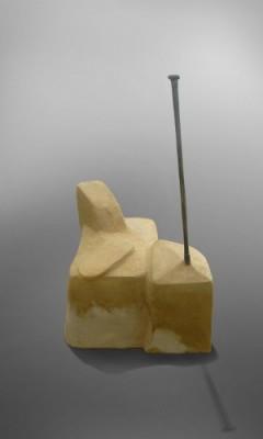 sockel für cdf, 2007, kunststein, schmiedeeisen, postkarte / text