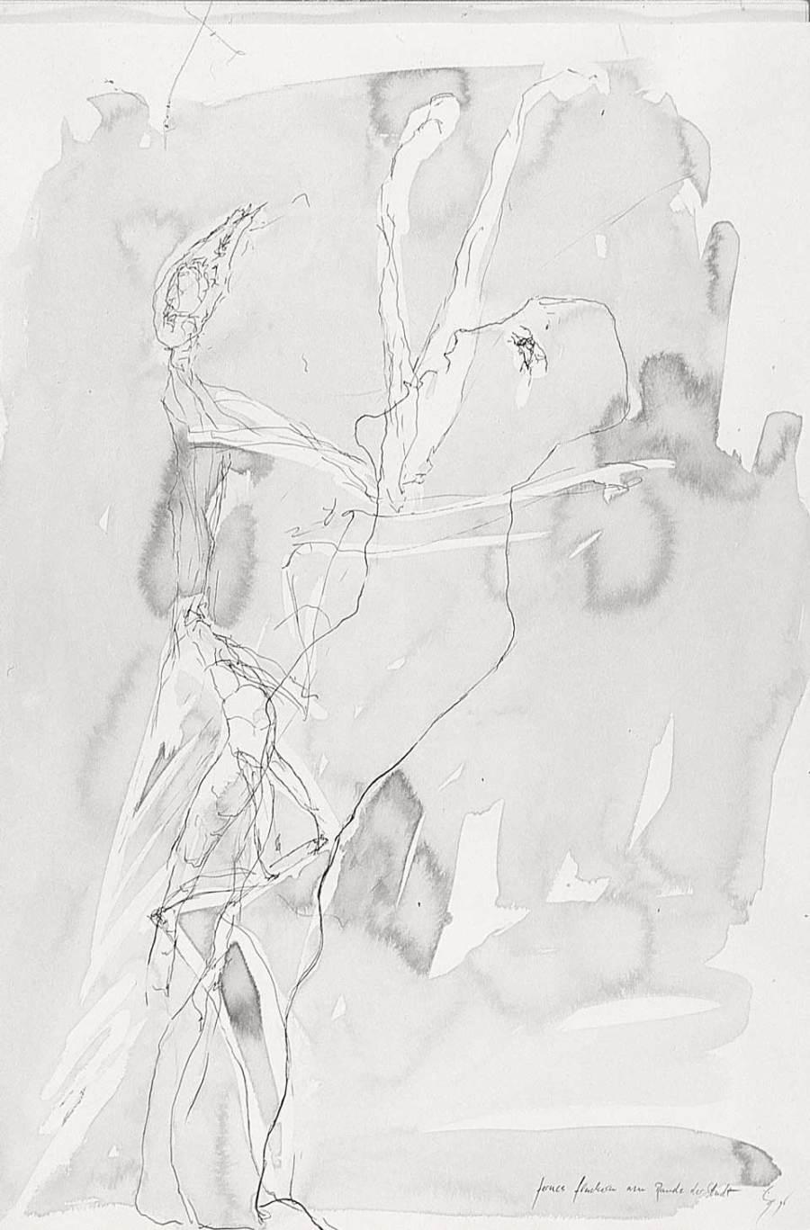 fernes flackern am rande der stadt, tusche auf karton, 1996