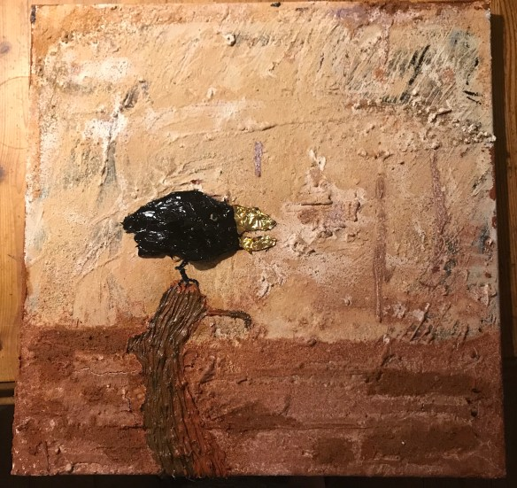 BLACK BIRD. Gold, Ocker, Oil on Canvas. 40x40cm. 195€