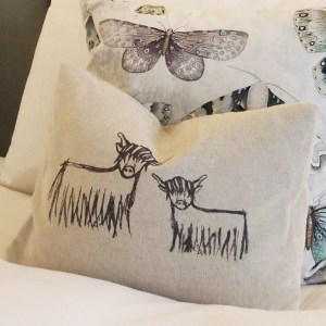 Hand-printed Highland Coo Cushion by Clement Design